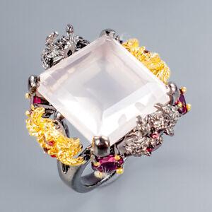 Vintage24ct-Natural-Rose-Quartz-925-Sterling-Silver-Ring-Size-8-5-R101244