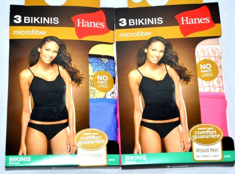 Effizient New 6 Pairs Hanes Bikinis Microfiber Size 5 Small Wedgie Free No Panty Lines Wow SchöN In Farbe