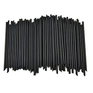 100X-Black-Plastic-Mini-Cocktail-Straws-For-Celebration-Drinks-Party-Supplies-WG