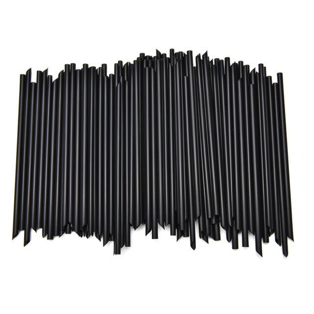 100X Black Plastic Mini Cocktail Straws For Celebration Drinks Party Supplies TP