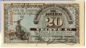 Mexico-1915-Estado-Libre-y-Soberano-Toluca-Veinte-20-Centavos-Note-JY840