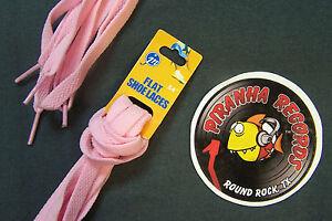 Pink-Thin-Flat-54-034-x-3-8-034-5-8-034-JN-Shoelaces-Shoe-Strings-Piranha-Records