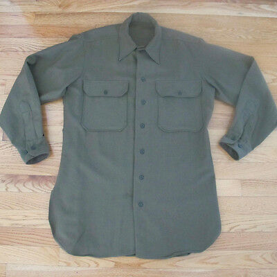 VINTAGE ORIGINAL WW2 MILITARY SHIRT FLANNEL OD COAT SPECIAL DATED 1945