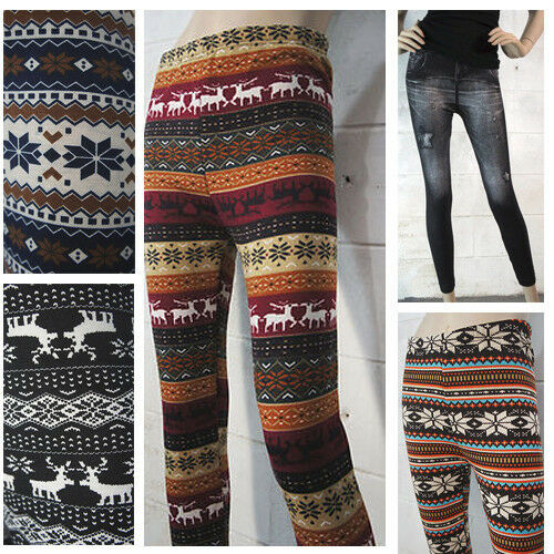 Women's Aztec Nordic Deer Snowflake Knitt Leggings Winter Thick Warm Tight Pant