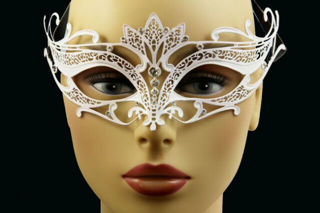 LASER CUT Metal Venetian Masquerade Costume Prom Party Wedding White Fox Mask