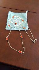 KENDRA SCOTT Kelsie Long Gold Station Necklace RED Stones
