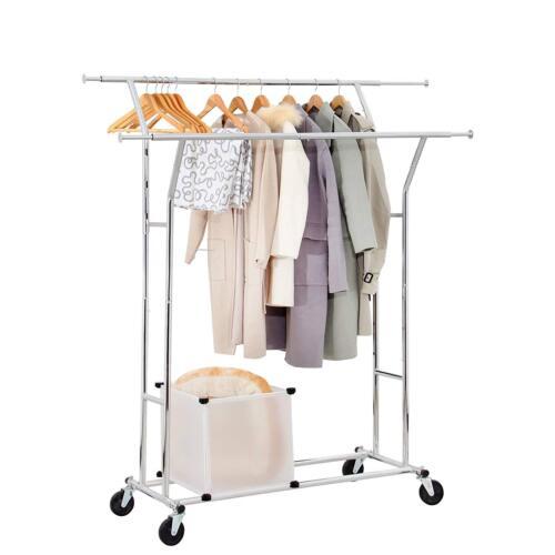 Yorbay Industrie Kleiderständer auf Rollen 150kg ausziehbar Zusammenklappbar