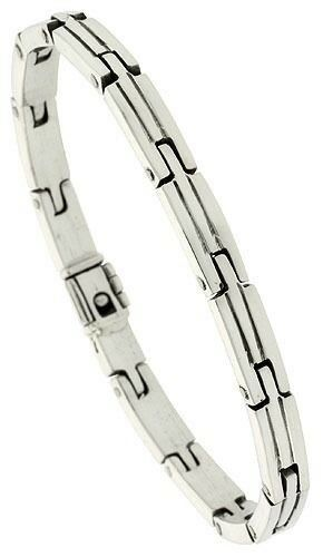 argentoo argentoo argentoo Sterling Uomo Artigianale Brick Stile Braccialetto a Maglie 65cdbb