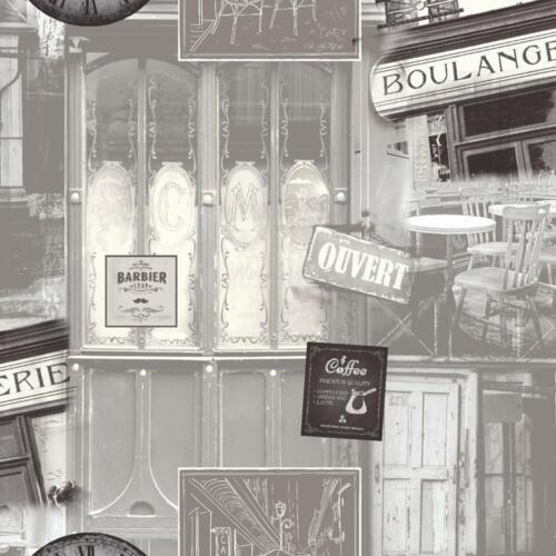Cafe Paris Wallpaper Muriva Coffee Shop France Grey
