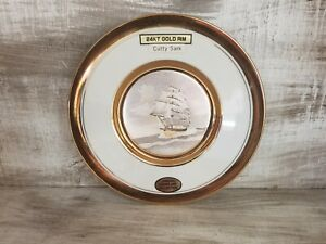 Vintage-Dynasty-Gallery-Art-of-Chokin-plate-6-034-CUTTY-SARK-SHIP-24K-Gold-rim