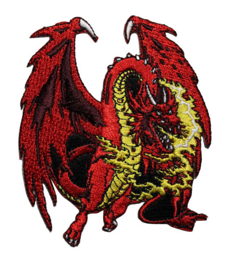 Fire Breathing Dragon Embroidered Iron On Patch - Battle Jacket Patch Red 042-E