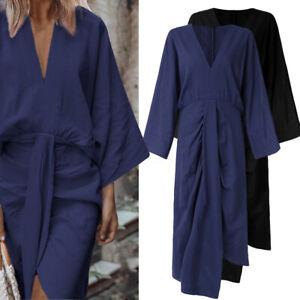 Elegant-Femme-Robe-Asymetrique-Taille-haute-Manches-chauve-souris-Dresse-Plus