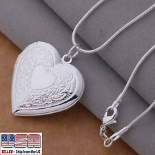 "925 Sterling Silver Heart Locket Photo Pendant  Necklace 18"" Wholesale"