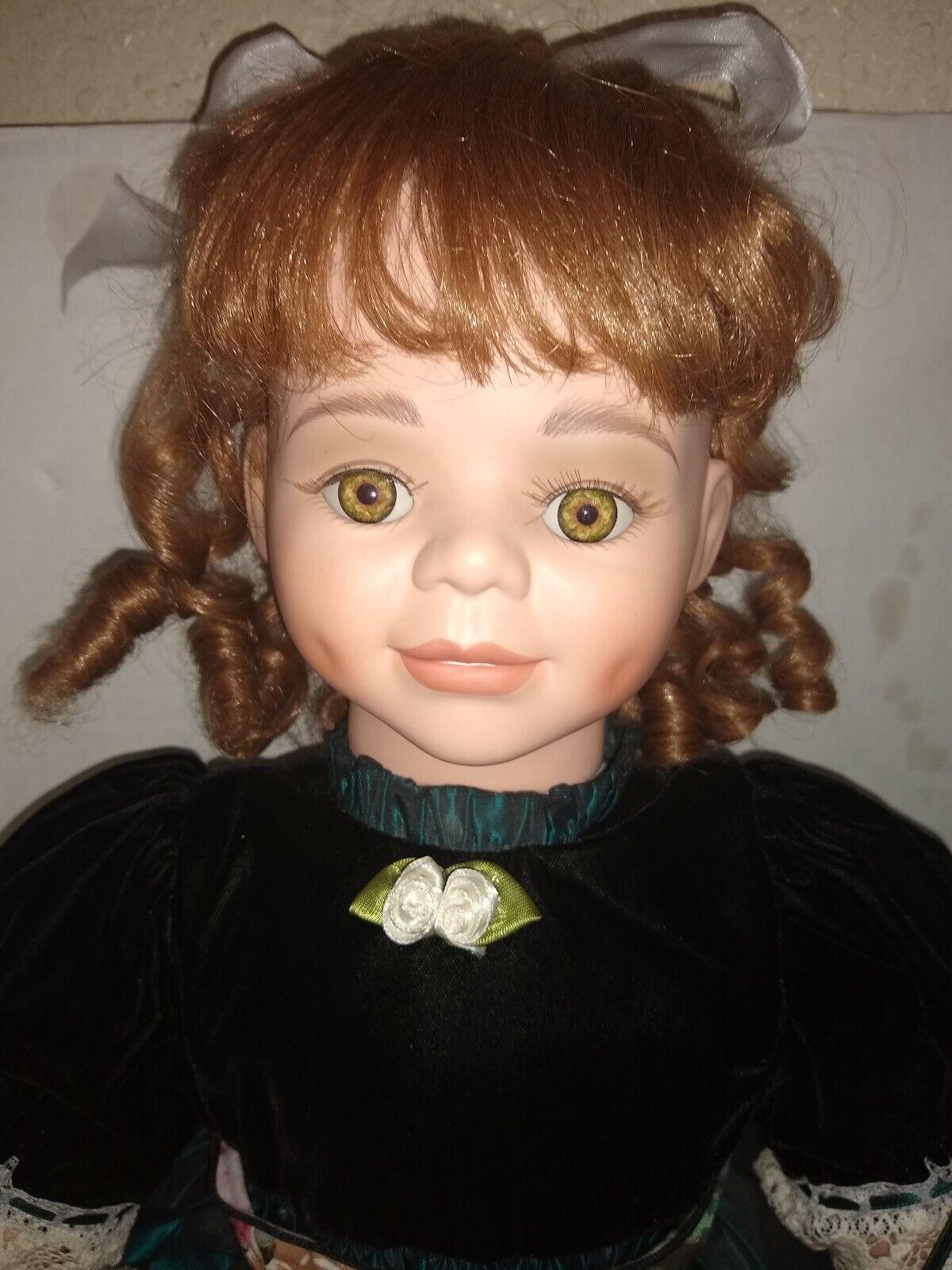 26  Elite Porcelain Artist Doll KRISTA  w  Teddy Bear by Penelope Carr