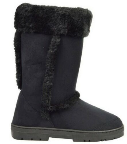 NEW WOMENS WINTER WARM FUR LINNED LADIES SNOW BOOTS GRIP SOLE MID CALF SIZE 3-8