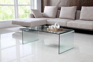 Details about Nova Modern Stylish Curved Clear Glass Table Coffee Table  Living Room Furniture