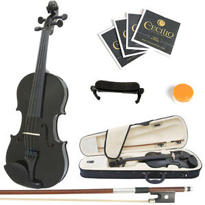 Mendini-Size-4-4-Solidwood-Violin-Metallic-Black-ShoulderRest-ExtraStrings-Case