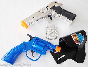 BLACK Military 9MM Pistol Cap Guns 2XToy Guns Snub Nose Clicker w// Holster