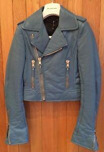 Balenciaga 36 denim blu Bnwt 2010 in Giacca Taglia pelle da motociclista qZYwYz