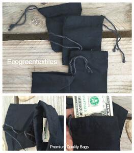 5x7 inches BLACK Cloth Muslin Drawstring Bags , Art Craft Bags ,Qty 25 / 50 /100