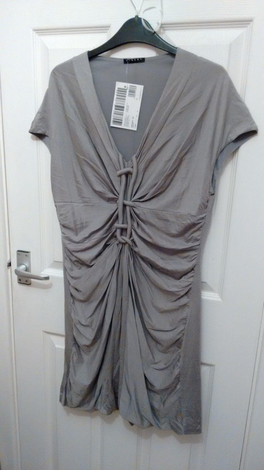 Sisley Benetton Light Grey Silk Jersey Layering Lagenlook Dress Tunic L 12 14