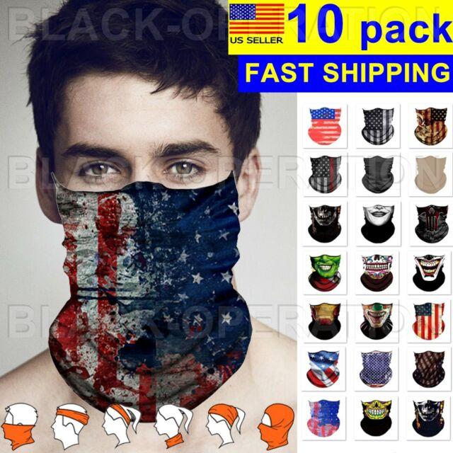 Face Mask Sun Shield Neck Gaiter Balaclava Neckerchief Bandana Headband 10 Pack