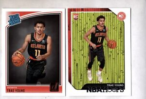 2X-Trae-Young-2018-19-NBA-Hoops-Donruss-RCs-Rookie-Lot-Hawks-198-250