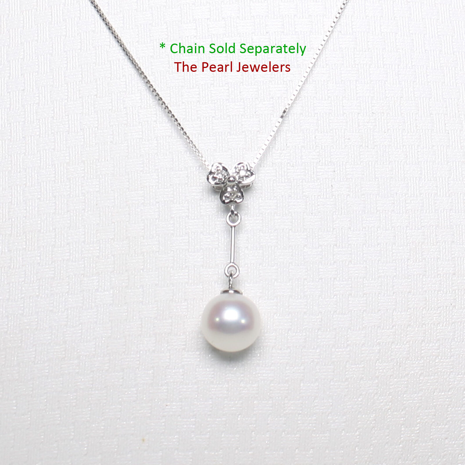 14k White gold Hearts Bail Dangling 7.5-8mm AAA White Cultured Pearl Pendant TPJ