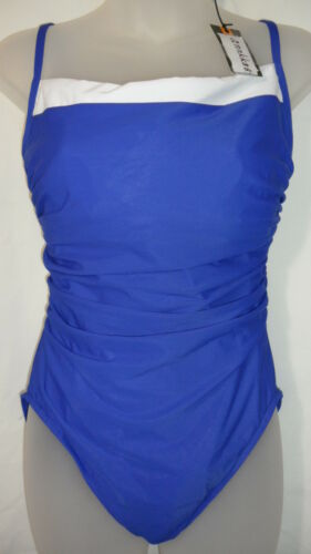 NWT Miraclesuit Womens Double Feature Kara 1 PC SwimSuit Blue//white Retail$130.0