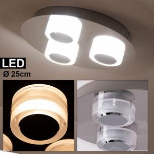 Design LED Chrom Decken Lampe Wohn Zimmer Beleuchtung Glas Strahler Leuchte