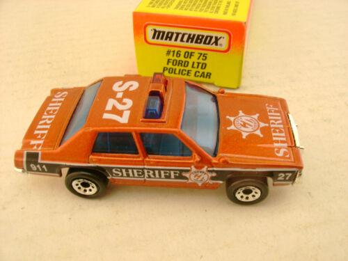 1996 MATCHBOX SUPERFAST MB16 SHERIFF FORD LTD POLICE PATROL CAR NEW IN BOX