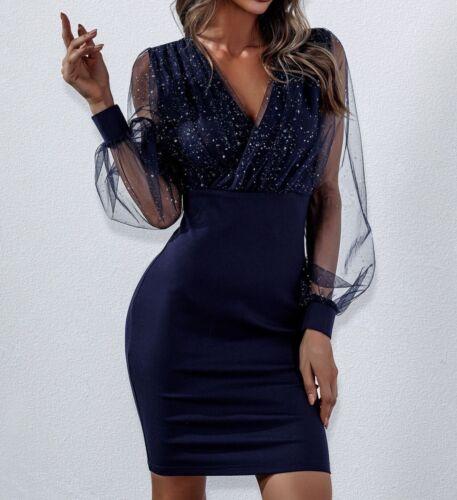 V Neck Puff Sleeve Long Sleeve Contrast Mesh Bodycon Elegant Short Dress
