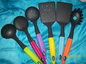 Details about Colorful Kitchen Tool Set - 6 Piece Set of Utensils-Spoons,  Spatula, Fork, Ladle