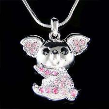 w Swarovski Crystal Pink KOALA Bear Australia Aussie Teddy Wombat Charm Necklace