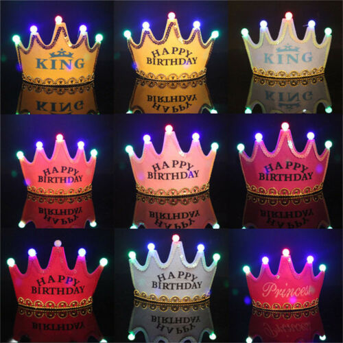 Prince Princess Crown Birthday Party LED Light up Hats Cap Children kids adult