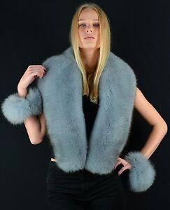 Saga Furs Emerald Green Silver Fox Fur Wrap Scarf Boa Stole Wristbands Cuffs