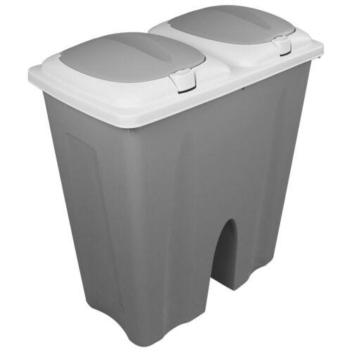 2x25L Mülleimer Duo Abfalleimer Mülltonne Mülltrenner Papierkorb Müll Küche grau