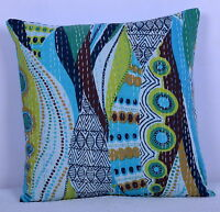 """16"""" Indian Cushion Pillow Cover Kantha Throw Vintage Work Ethnic Home Decor Art"""
