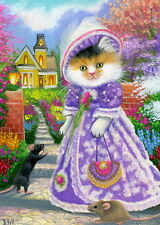 Calico kitten cat mouse Victorian house garden OE aceo print of painting art