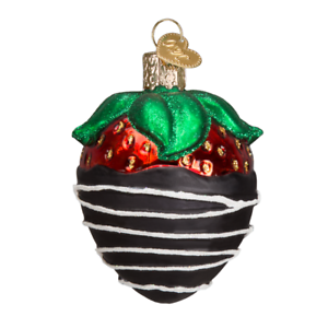 Old-World-Christmas-CHOCOLATE-DIPPED-STRAWBERRY-28116-X-Glass-Ornament-w-Box