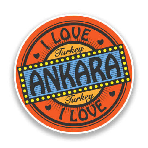 2 X me encanta Ankara Turquía Pegatinas de Vinilo Viaje Equipaje #7312
