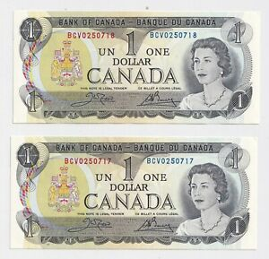 2-x-Sequential-1973-1-Bank-of-Canada-Notes-BCV0250718-9-UNC