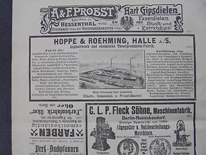 Capable 1899 Baugewerkszeitung 71/halle Publicité Hoppe Et Roehming-ung 71 / Halle Reklame Hoppe Und Roehming Fr-fr Afficher Le Titre D'origine Des Friandises AiméEs De Tous
