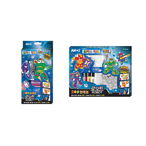 2 type Window Paint Sticker Glass Deco Suncatcher Robot AMOS Magic Art 6 Color