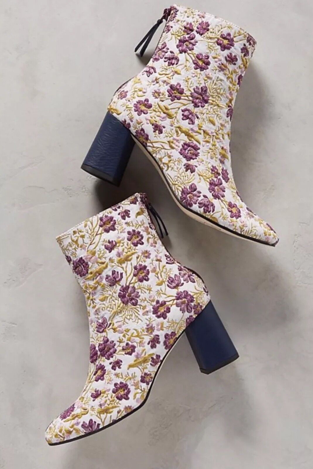 NEW Anthropologie Paco Gil Embroidered Floral Heeled Boots