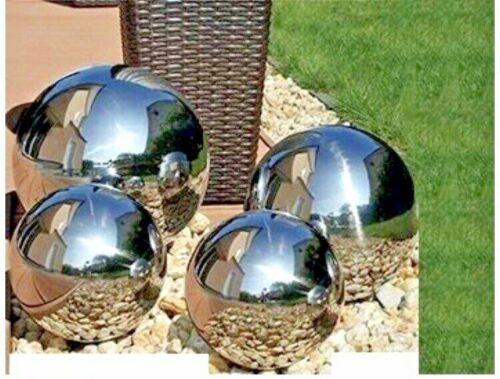 Set di 4 SILVER MIRROR DA GIARDINO ARREDAMENTO sfere in acciaio inox concentrarono globi sfere