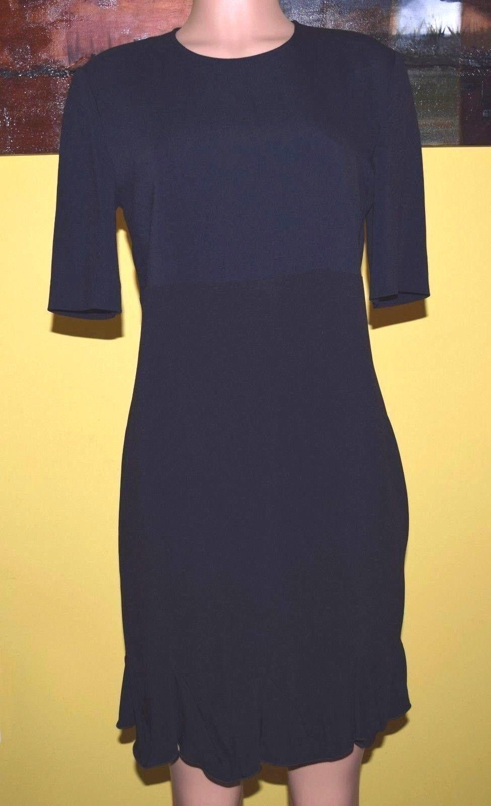 Stella Mccartney Schwarz Blau Rundhals Gerüscht Saum Body-Com Kleid Größe 44