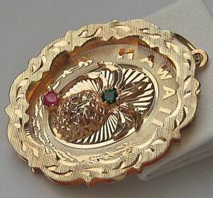 Anhaenger-034-Hawaii-034-Ananas-Motiv-mit-Dmaragd-und-Rubin-in-aus-14-Kt-585-Gold