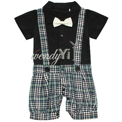 Boy Baby Formal Suit Plaid Romper 6-18M Gentleman Jumpsuit Tuxedo Outfit Clothes