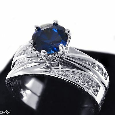 14k Solid White Gold Brilliant Sapphire Engagement Wedding Band & Ring Set